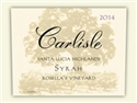 Carlisle Rosella's Vineyard Syrah 2014 (Santa Lucia Highlands, California) - [RP 94] [WE 93]