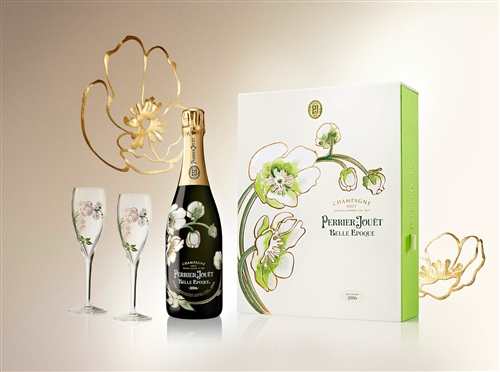 Perrier Jouet Belle Epoque Brut Champagne 2006 Gift Set With Two Flutes (Champagne, France) - [WE 95] ...